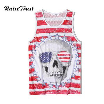 Summer Men/Women Bodybuilding Tank Top 3d Printed Red White Stripe Skull Fashion O-neck Sleeveless Gyms Fitness Brand Clothes
