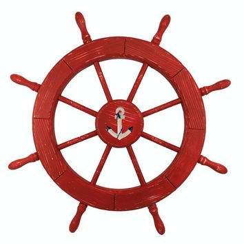 Wooden Anchor Red Decorative Ship Wheel 30""