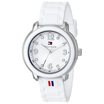 Tommy Hilfiger 1781418 Women's Callie Silver Dial White Silicone Strap Crystal Watch