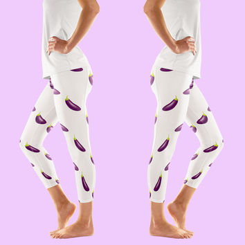Eggplant Emoji Pattern Leggings