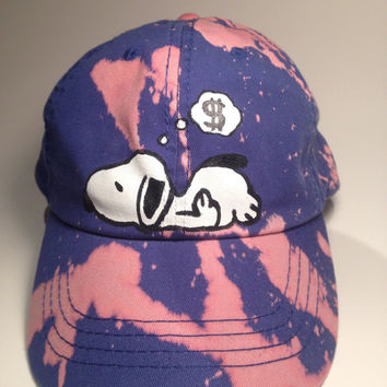 Hand Painted Snoopy Dad hats/Adjustable caps