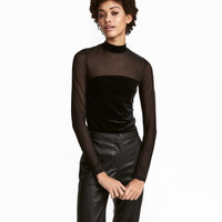 H&M Velour Top with Mesh $17.99