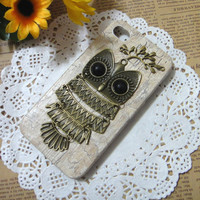 Owl with Branch iPhone Case Cover for iPhone 4 Case, iPhone 4s Case, iPhone 4 Hard Case, iPhone Case
