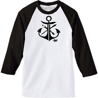 "Men's ""JL Anchor"" Baseball Tee by Steadfast Brand (Black/White)"