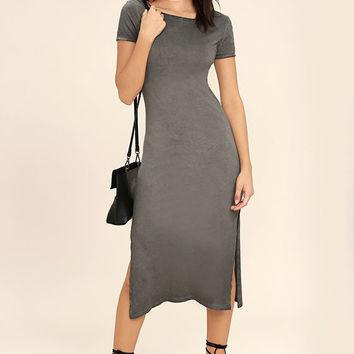 Just You Washed Grey Backless Midi Dress