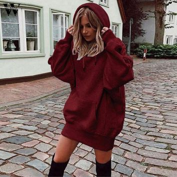 Fashion hoodies women winter Long Sleeve Solid pullover sweatshirts hoodies casual dress hoody ladies Women Clothes 8.28