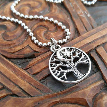 Tree of Life Necklace, Tree of Life Necklace, Moon Necklace, Silver Tree Necklace, Pagan Necklace