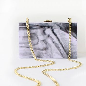 Retro Style Ink Painting Design Marble Acrylic Lady Evening Clutches Women's Purse Small Shoulder Bags Messenger Flaps Box BA253