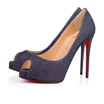 Christian Louboutin Cl New Very Prive Blue Denim 18s Platforms 1181120bl72