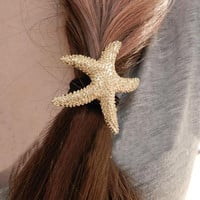 Newly Arrival Fashion Lovely Hair Accessories Metallic Starfish Shaped Elastic Women Hairbands Color Gold HDR-0197