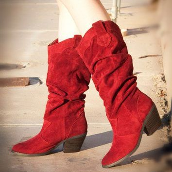Qupid Muse-01 Slouchy Suede Cowboy Knee High Boot (Garnet Red) - Shoes 4 U Las Vegas