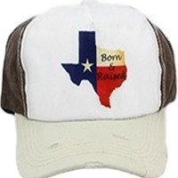 """Born n Raised"" Baseball Hat, Brown-White"