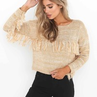 Pure Color Tassels Long Sleeves Scoop Short Tassels Sweater