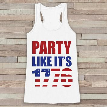 4th of July Shirt Women. Party Like It's 1776 Tank Top - Women's 4th of July Tank - White Flowy Tank - American Pride Top - Funny Tank Top