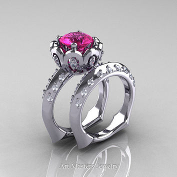 Classic 14K White Gold 3.0 Ct Pink Sapphire Diamond Greek Galatea Wedding Ring Wedding Band Bridal Set AR114S-14KWGDPS