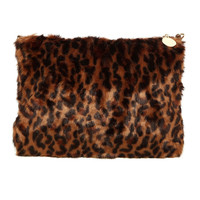 FAUX FUR ZIPPER CLUTCH - LEOPARD