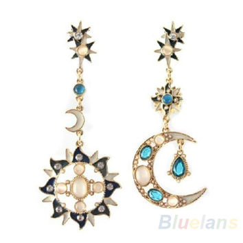 New Style Fashion Star Sun Moon Rhinestone Crystal Stud Dangle Pretty Earrings for women 0283