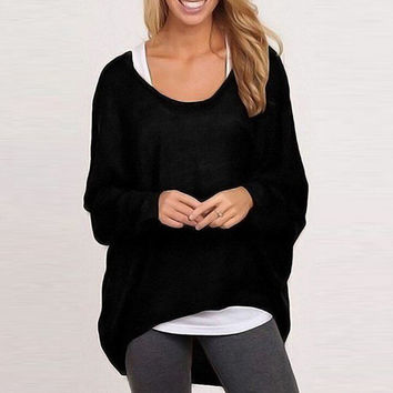 Autumn&Winter Warm Women Cotton Wool Pullover Loose Knited Sweater +Free Gift -Random Necklace-119
