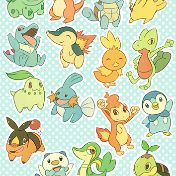 Pokemon Sticker Set - Starters