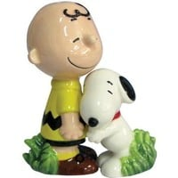 Westland Giftware Peanuts Magnetic Snoopy Hugging Charlie Brown Salt and Pepper Shaker Set, 3-1/2-Inch