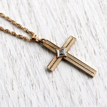 Vintage 10K Yellow Gold & Diamond Cross Necklace - Antique 1930s 1940s Art Deco Religious Fine Jewelry / Crucifix Pendant