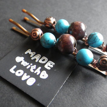 Turquoise Beauty- Blue Stones- Copper- Wood- Nature- Beaded Bobby Pins- Summer Hair Fashion Accessory- Birthday- Gift for Her