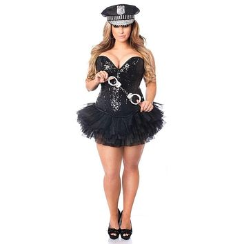 Daisy Top Drawer 4 PC Sexy Cop Corset Costume