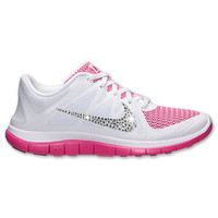 Women's Nike Free 4.0 V4 Running Shoes w/ Swarovski Crystal Detail - White Vivid Pink
