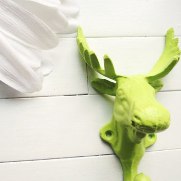 Lime Green Moose Hook / Metal Wall Hook / Childrens Wall Hook / Cabin Decorations / Lime Home Decor / Moose Decor / Antler Decor / Key Hook