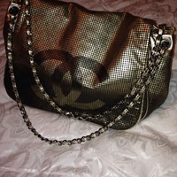 *NEW* CHANEL HOLLYWOOD Perforated Gold Mash Silver Handbag Evening Bag