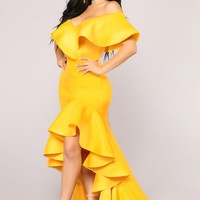 Miss You More Mermaid Dress - Yellow