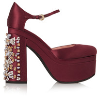 Rochas - Crystal-embellished satin platform pumps