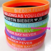 10pcs Justin Bieber Silicone bracelets JB 5mm Wristbands Fashion Jewelry