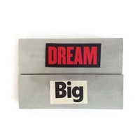 DREAM BIG fridge magnets reworked jenga blocks GREY unique retro decor for any kitchen office man cave