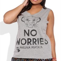 Plus Size Tank Top with No Worries Lion King Screen
