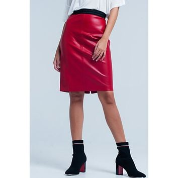 Red Faux Leather Pencil Skirt