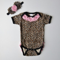 Cheetah Leopard and Pink Onesuit Chiffon Rosettes On by mamabijou
