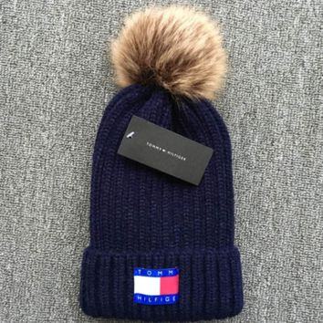 Tommy hilfiger 2018 new thickened knit hat Blue