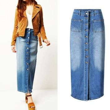 Women Straight Cowboy Skirts High Waist Pockets Ankle-length Empire Skirt Slim Breasted Lady Vintage Wash Long Button Skirt
