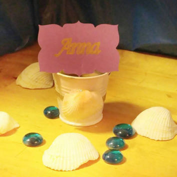 Beach wedding placecard holders-beach wedding decor-seashell party decor