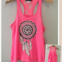 Racer tank w/ laced back- Dream Catcher