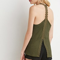 Embroidered Mesh Split-Back Tank