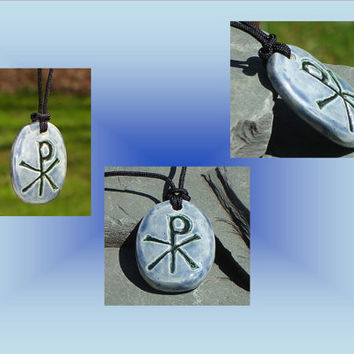 Men's Chi Rho Necklace, Blue  Ceramic Pendant, Good Fortune, Pagan Jewelery, Pottery Amulet, Chronos God of Time, Tav Resh Symbol