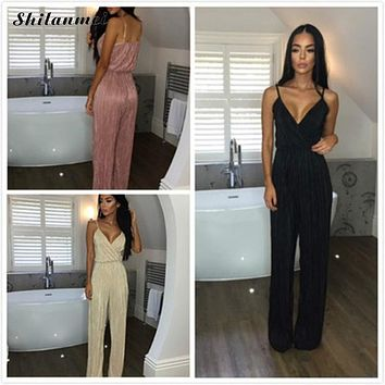 Women Jumpsuits 2017 Summer Womens Black Rompers Jumpsuit Elegant Dot Bodysuit Vintage Spaghetti Strap Long Playsuits Plus Size