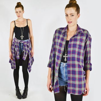 vtg 90s grunge pink blue green PLAID print FLANNEL slouchy OVERSIZED button up shirt top S M L