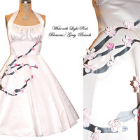 Flattering Duchess Satin Dress with Blossom Branch... High back Halter Style... Your measurements... Your Color...