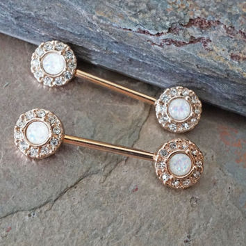 White Opal Rose Gold Nipple Ring Nipple Piercing Nipple Jewelry