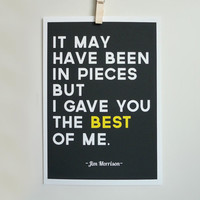 Jim Morrison Quote Print The Best of Me Gray Typography Poster A4 Archival Print