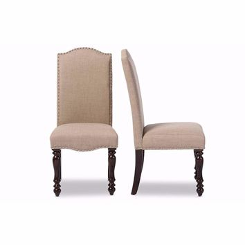Zachary Chic French Vintage Oak Brown Beige Linen Fabric Dining Chair (Set of 2) By Baxton Studio