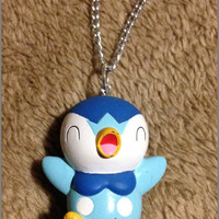 Vintage Piplup Bandai Pokemon Lightweight Hollow Necklace or Keychain Handmade Chain